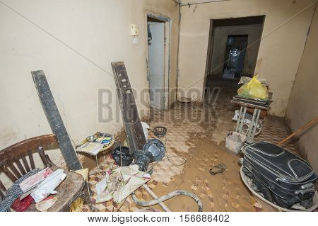 Interior Of Poor African House Following Flooding Disaster