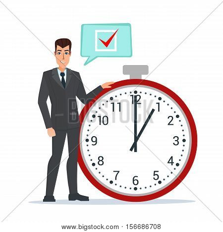 Businessman think on task list, checklist, stopwatch vector illustration. Business plan. Cartoon concept. Vector illustration isolated on white background in flat style.