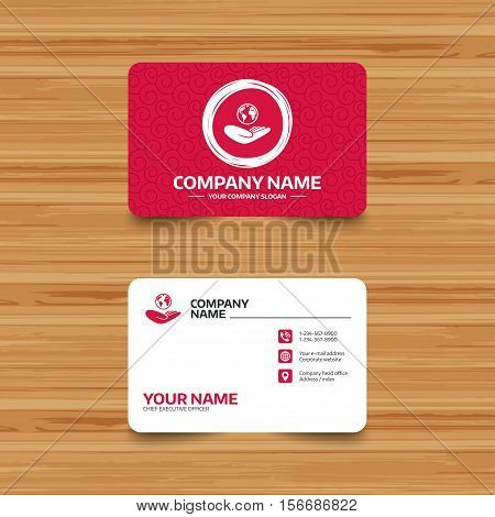 Business card template with texture. World insurance sign. Hand holds planet symbol. Travel insurance. World peace. Phone, web and location icons. Visiting card  Vector