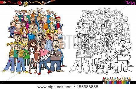 Cartoon Illustration of People in Crowd Coloring Book Activity