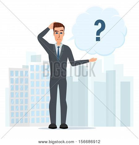 Vector illustration of cartoon with bar question mark. Business cartoon concept. Vector illustration isolated on white background in flat style.