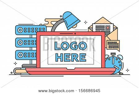 Work place - vector modern flat design illustration with copyspace for Your Logo. Laptop, lamp, clock, mail, server