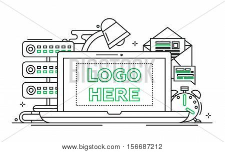 Work place - vector modern line design illustration with copyspace for Your Logo. Laptop, lamp, clock, mail, server