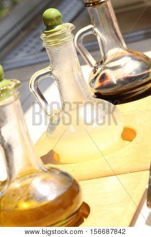 Olive oil, lemon juice and pomegranate vinegar for salads