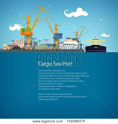 Unloading Oil or Liquids from the Tanker Ship, Sea Freight Transportation, Cargo Transport, Port Warehouses and Cranes, Poster Brochure Flyer Design, Vector Illustration