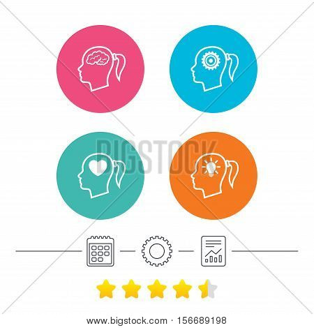 Head with brain and idea lamp bulb icons. Female woman think symbols. Cogwheel gears signs. Love heart. Calendar, cogwheel and report linear icons. Star vote ranking. Vector