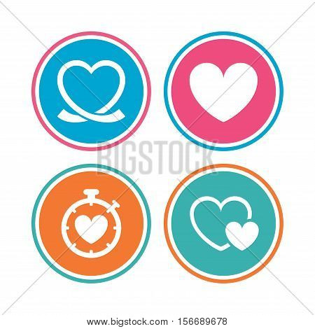 Heart ribbon icon. Timer stopwatch symbol. Love and Heartbeat palpitation signs. Colored circle buttons. Vector