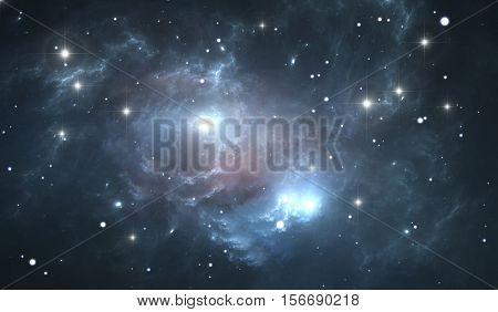 Giant glowing nebula. Space background with blue nebula and stars