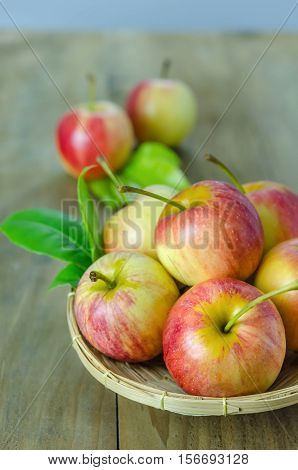 Red And Yellow Apple   On Wooden Background