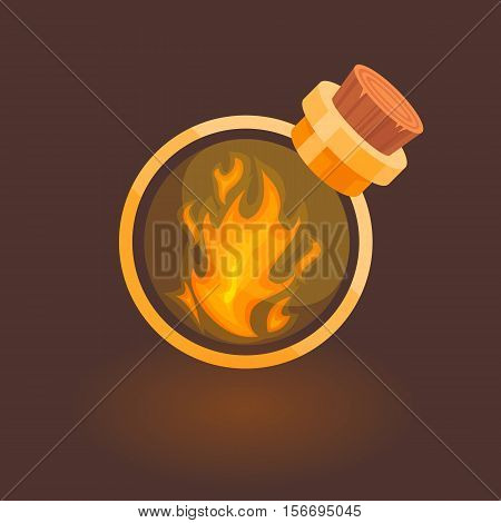 Fire in the bottle for games. Magic bottle with fire isolated on dark brown background.