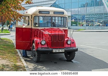 Dnepropetrovsk Ukraine - September 14 2013: Exhibition of cars and other vintage bus technics