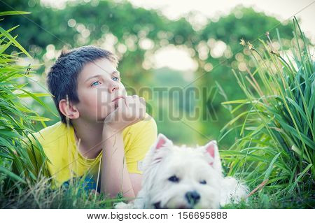 young man accompanied with his dog thinking of stock photo sales