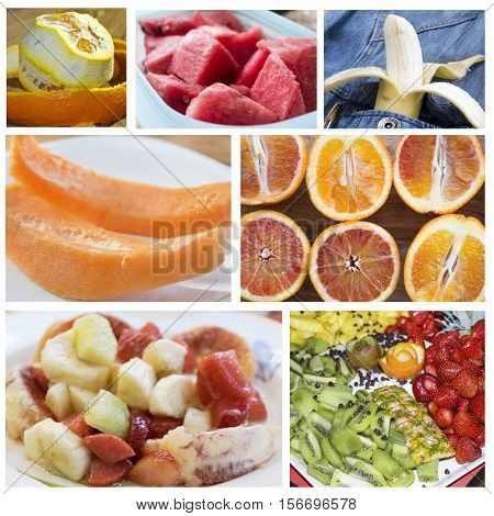 variety of seasonal fresh fruit in a photographic collage