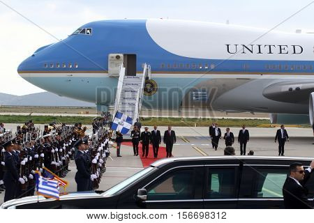 The Air Force One Lands At The Athens International Airport