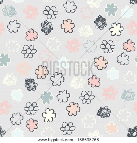 Vector doodle seamless patterns.Hand-drawn pencil pattern with flowers on a textured background. Endless background can be used for printing fabric and paper or invitation.