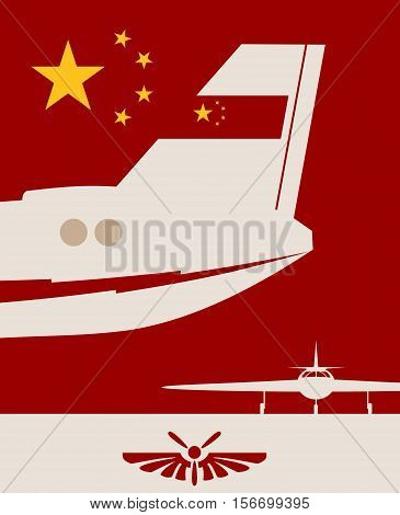 Vertical banner with the image of an airplane tail. Air company logo. China flag as backdrop