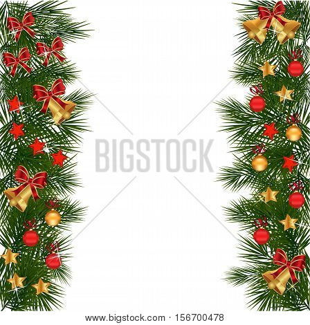 Christmas garland with decorations and green leaves over white background.Christmas holly set Holly Christmas decoration. Element for design