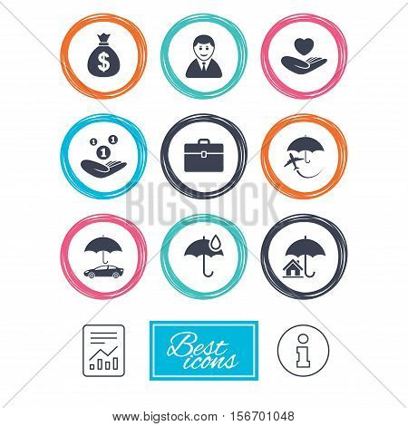 Insurance icons. Life, Real estate and House signs. Saving money, vehicle and umbrella symbols. Report document, information icons. Vector