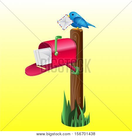 Outdoor red mailbox full of letters. Wooden pole, green grass and blue little bird holding an envelope. Vector EPS10 realistic illustration.