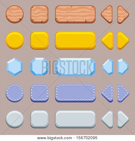 Set of buttons for game. Wooden, golden, silver and denim customizable buttons kit.