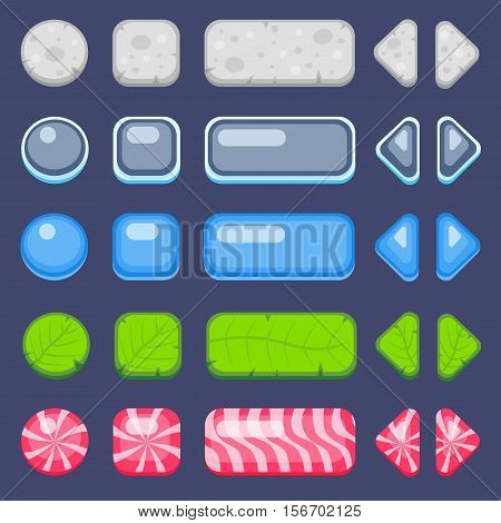 Set of buttons for game. Stone, water, leaf and candy customizable buttons kit.