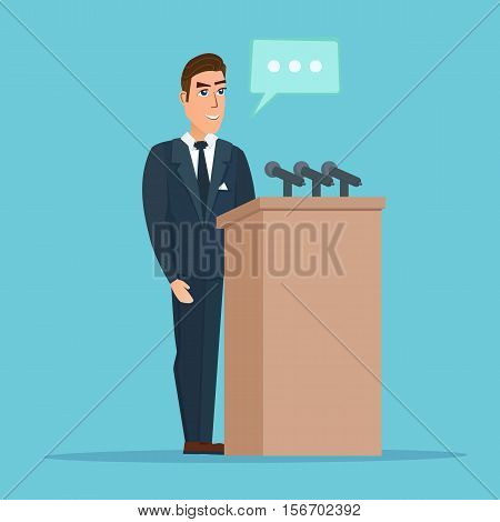 Speaker makes a report to the public. Orator stands behind a podium with microphones. Presentation performance before audience. Vector creative color illustrations flat design in flat modern style.