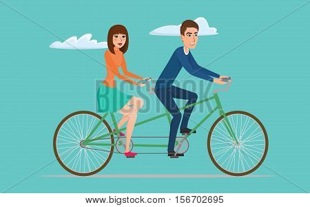 Man and woman on twin bike. Young couple riding a tandem bicycle. Vector creative color illustrations flat design in flat modern style.