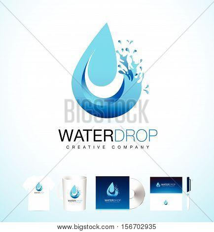 Water Drop Logo. Vector Water Drop Design with Splash. Creative Water Splash with Droplets.