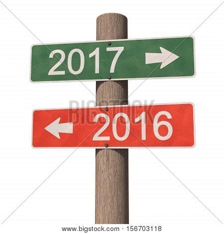 Wooden road signpost indicates direction to the New Year 2017 and the Old Year 2016. 3d illustration