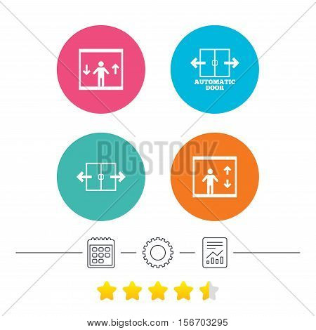 Automatic door icons. Elevator symbols. Auto open. Person symbol with up and down arrows. Calendar, cogwheel and report linear icons. Star vote ranking. Vector