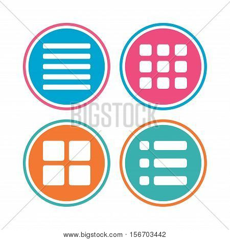 List menu icons. Content view options symbols. Thumbnails grid or Gallery view. Colored circle buttons. Vector