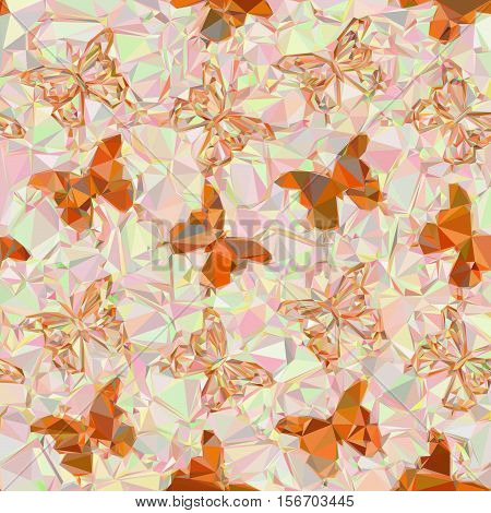 Abstract Background with Colorful Butterflies Silhouettes, Low Poly Pattern. Vector