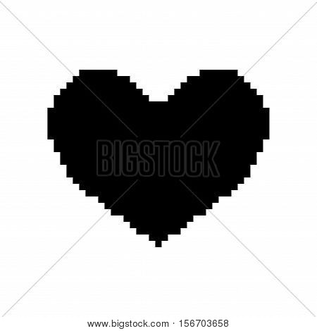 Sign pixel heart black. Image of love. Monochrome icon isolated on white background. Flat romantic symbol. Logo for game. Light health content. Mark of valentine. Stock vector illustration
