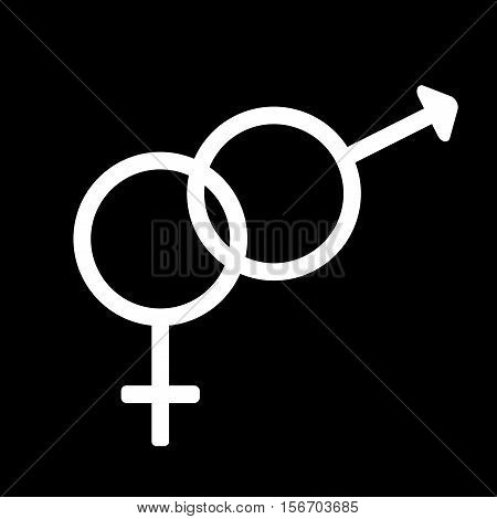 Gender sign. Male and female monochrome symbols isolated on black background. Abstract plane mark with men and women sex icons. Heterosexual concept. Two romantic silhouette. Stock VECTOR illustration