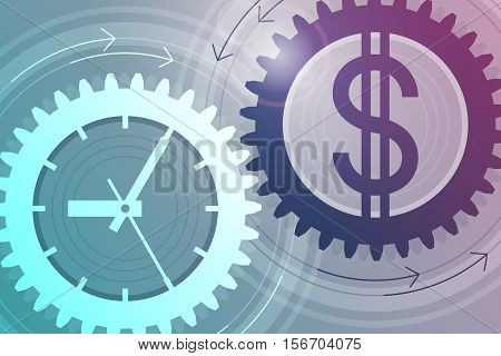 Gear with clock face as symbol of time and gear with dollar sign as symbol of money near to each other. Interaction and interdependence of time and money. Concept of successful business. Tinted effect