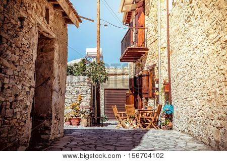 Beautiful old street at Kato Lefkara village. Larnaca District Cyprus.
