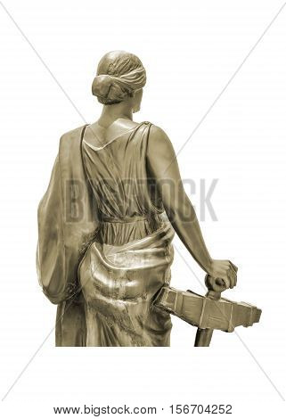 Isolated woman with toga sculpture against white background