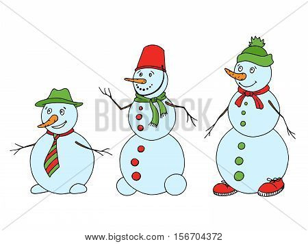 Snowman graphic green red color sketch isolated illustration vector