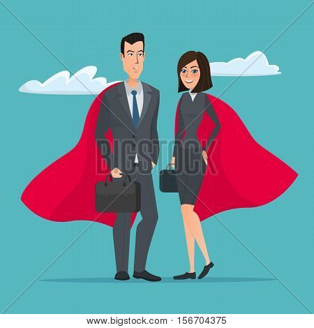 Man and woman business superheroes. Cartoon Super businessman stands . Business concept. Vector creative color illustrations flat design in flat modern style.