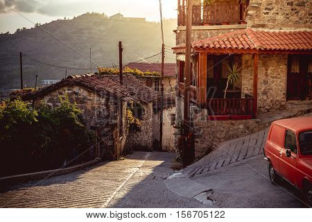 Old streets of Agros. Limassol District Cyprus