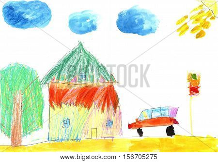 The image of the child's drawing car and country-house