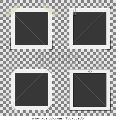 Set of photo frames on a transparent background attached in various ways. Vector photo frame.