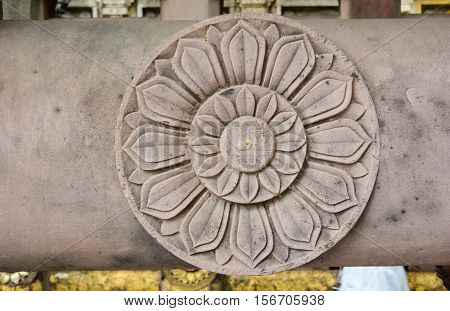 Decorated Relief At Mahabodhi Temple In India