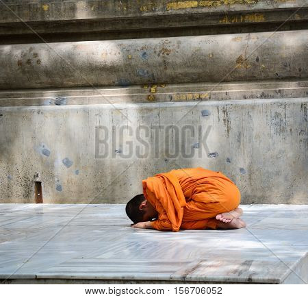 Monk At Mahabodhi Temple In Bodhgaya, India