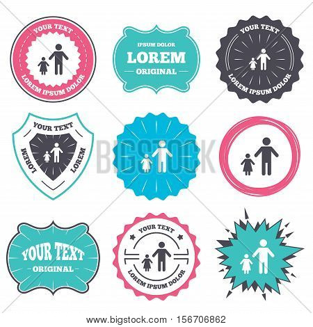 Label and badge templates. One-parent family with one child sign icon. Father with daughter symbol. Retro style banners, emblems. Vector