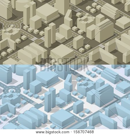 City isometric plan with road and urban silhouette of building. Big set of city abstract buildings and roads. Blue and gray color. Vector illustration