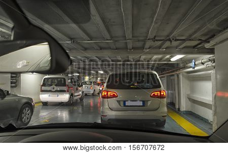 View of cars disembarking from ferry in Italy