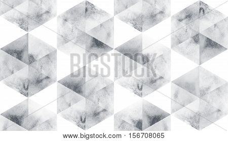 Black and white silver geometric sacral polygonal grunge textured art pattern