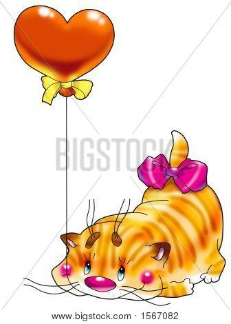 Kitten In A Red Balloon