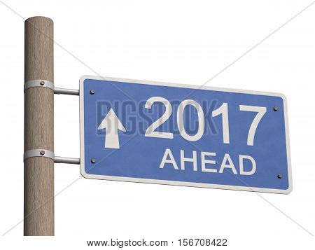 Wooden road signpost indicates direction to the New Year 2017. 3d illustration
